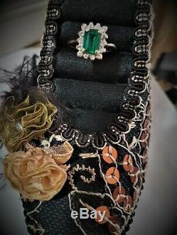 1.10 Emerald Diamond Halo Ring Vivid High Saturation Emerald Cut Halo Si1-2
