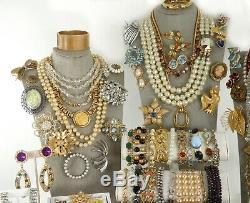 104 Huge Vintage Costume Jewelry Lot Brooch Rhinestone Estate Signed High LBS