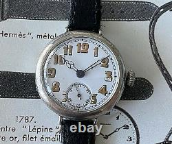 1914 Signed Silver High Quality WW1 Trench Watch Sensational Dial & Movement