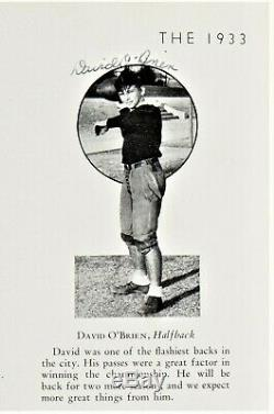 1933 Davey O'Brien High School Yearbook Signed Auto Autograph Full PSA/DNA COA