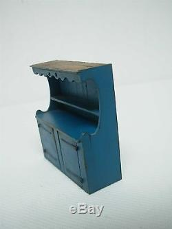 1982 Signed Artisan C&j Holmes Dollhouse Miniature Blue Painted Hutch 2.75 High