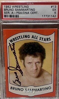 1982 Wrestling All Stars Signed Bruno Sammartino #13 PSA DNA 5 High Grade WWE