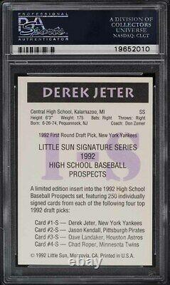 1992 Little Sun High School Prospects Derek Jeter ROOKIE PSA/DNA AUTO PSA 9 MINT