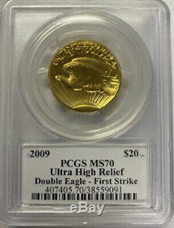 2009 $20 Ultra High Relief PCGS MS70 Double Eagle First Strike Jim Peed Signed