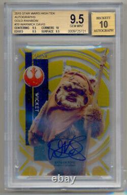 2015 Star Wars High Tek Gold Rainbow Warwick Davis AUTO Wicket /50 BGS 9.5/10