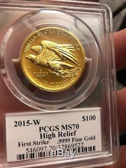 2015 W MS70 First Strike $100 Gold Liberty High Relief PCGS Edmund c Moy Signed