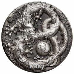 2018 Dragon 5oz Silver Antiqued High Relief Coin Autographed (COA 1-50)