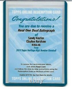 2018 TOPPS HERITAGE HIGH NUMBER DUAL AUTO SANDY KOUFAX/KERSHAW # 1 of 5 DODGERS