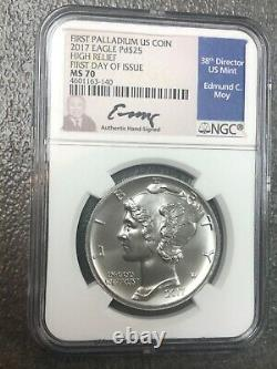 2019-W Reverse Proof HIGH RELIEF $25 Palladium Eagle NGC PF70 Signed by Moy