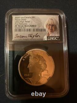 2020 1 Oz Silver Canada Peace Dollar Ultra High Relief FR PF 70 UC Signed RARE