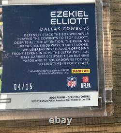 2020 Panini Spectra Ezekiel Elliott Sky High Auto #/15 Dallas Cowboys