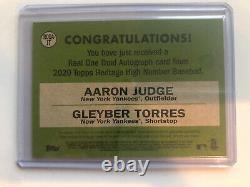 2020 topps heritage high number Dual Auto Aaron Judge Gleyber Torres 9/25