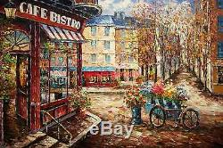 24x36100% hand painted oil flat, Street scene/Restaurant/Cafe Shop /High Quality