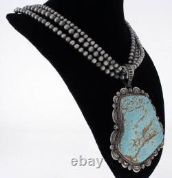 3-Strand Silver Bead Necklace With High Grade Natural #8 Turquoise Pendant