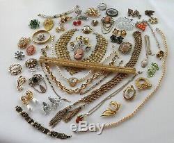 50 Huge Vintage Costume Jewelry Lot Brooch Rhinestone Old Estate Signed High End