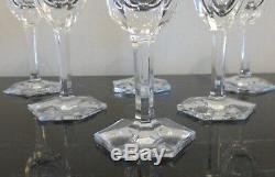 6 Moser Pope Pattern Crystal Short Wine Glasses 4 3/4 High