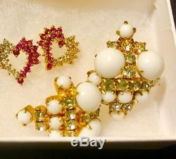 65 PCS VINTAGE HIGH END JEWELRY LOT 14K Sapphire & Diamond Earrings Signed