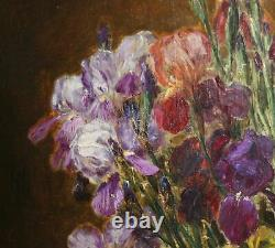 ALEXIS KREYDER-Listed French-Large-Signed Oil Painting-Irises-1800s -5 feet high