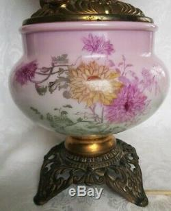 Antique Gone With The Wind Signed Phoenix Floral Oil Lamp Converted 23'' High
