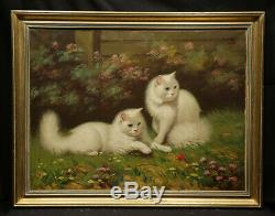 Antique Oil Painting White Kittens In Landscape High Academic Persian Cats