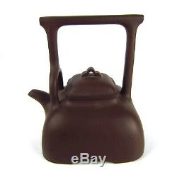 Antique Vtg Chinese Yxing Zisha Purple Clay High-Handle Teapot Signed Marked