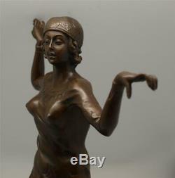 Art Deco Bronze Lady Charleston Dancer Signed DH Chiparus 41cm High
