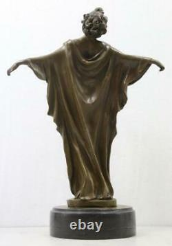Art Deco Style Bronze & Marble Lady'Spring Awakening' Signed 36cm High