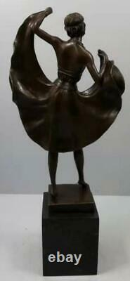 Art Deco style Bronze Dancing Lady Solid Marble Base Signed 46cm High