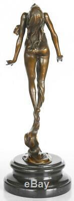 Art Nouveau Style Bronze Sculpture Lady Marble Base 39cm High Signed