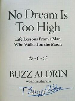 Astronaut Buzz Aldrin SIGNED Book No Dream Too High Autograph Autographed Photos