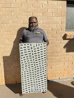 Authentic aboriginal art, Walala Tjapaltjarri, 102x51cm on high quality Linen