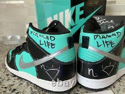 Autographed Size 10 Nike SB Dunk High Premium x Diamond Supply Tiffany 2014