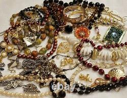 BIG LB ALL Vintage High End Jewelry Lot Crystal Some Signed Bieber Napier Sara