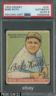 Babe Ruth Yankees HOF Signed 1933 Goudey #181 PSA PSA/DNA 9 HIGH GRADE AUTO