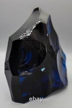 Baccarat Crystal Iceberg, Glass Ice Chunk Sculpture, Large 6 7/8 high Blue