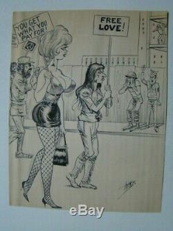 Bill Ward Original Signed 8 x 11 Sexy Pin-Up Art High Heels & Fishnet Stockings