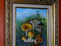 Bluebonnet Landscape Mushroom Green High Grass Field Cloud Sky Original Painting