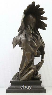 Bronze Bust of a Native American Indian 31cm High Signed Marble Base