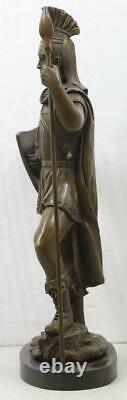 Bronze Roman Centurion Soldier Solid Marble Base 42cm High Signed