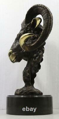 Bronze Sculpture Ram's Head 45cm High Signed Solid Marble Base