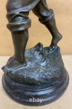 Bronze Sculpture of a Fisherman Casting 35cm High Solid Marble Base Signed