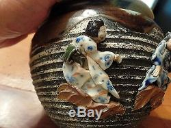 C1900 Sumida Gawa Planter Signed Applied Seal 3 Figures 14cm High 17.5cm Dia