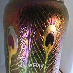 CHARLES LOTTON SIGNED Iridescent Peacock Vase 1997. 14 High GORGEOUS