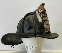Cairns Vintage Leather Fire Helmet Brass High Eagle Humane Engine Co 2 Mfd Fdny
