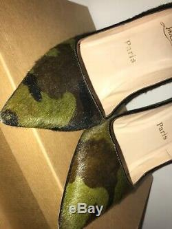 Christian Louboutin Camo Autographed Pony Hair Pigalle Pumps Shoes 39 High Heels