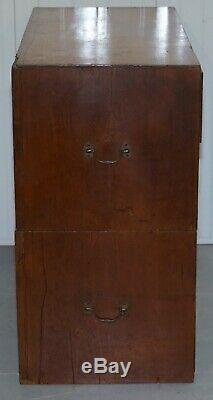 Circa 1880 Mahogany Military Campaign Chest Of Drawers Signed 93st High Lainton