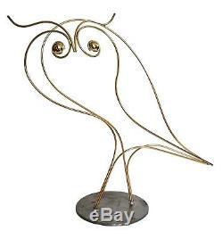 Curtis Jere SIGNED Brass Owl Outline Sculpture Vintage Table Art 22 high