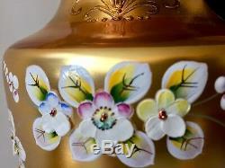Czech Bohemian Egermann Gold High Enamel Black Crystal Art Glass 2 Luxury Vases