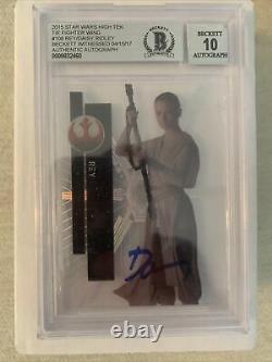 Daisy Ridley Signed 2015 Star Wars High Tek Card #108 Rey Auto Beckett BAS Tie