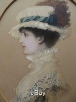 EDGAR HANLEY (British fl. 1878-1883) Victorian High Society Portrait Painting